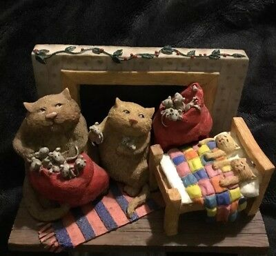 Cat in fireplace figurine The Real People Collection Stocking Stuffers #75424