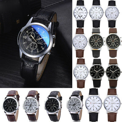 Mens Stainless Steel Leather Strap Watch Military Formal Dress Wrist Watches New