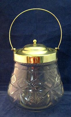 Nice Old Glass Crystal Biscuit Jar Barrel Silver Plate Lid Handle CrissCross SHP