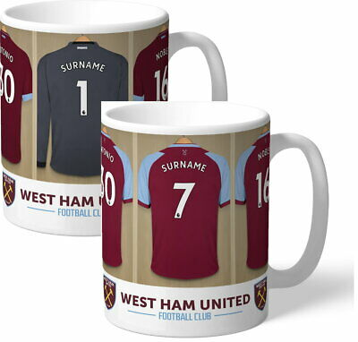 Personalised West Ham United FC Dressing Room Shirts Mug - Free Delivery