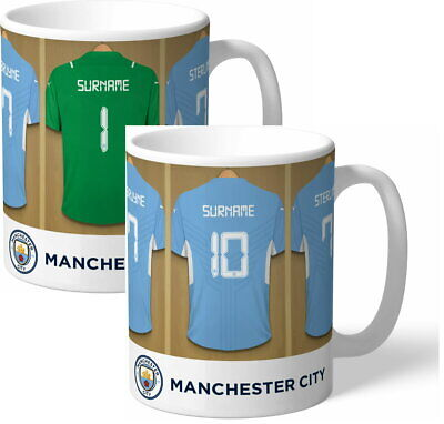 Personalised Manchester City FC Dressing Room Shirts Mug - Free Delivery