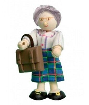 Budkins Bendy Wooden Characters Mrs Davis the Teacher 3.5in. Doll New in Box
