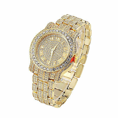 Hip Hop Iced out Gold Tone Techno Pave Bling Rapper Watch Simulated Crystal