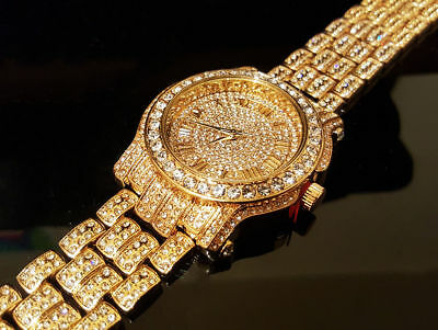 Men Hip Hop Iced out Gold Tone  Pave Bling Simulated Crystal Rapper Watch1