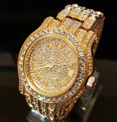 Mens 14k Gold Tone Iced out Simulated Crystal Hip Hop Rapper Techno Pave Watch