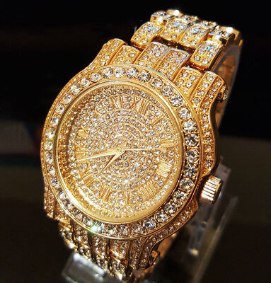 Men Hip Hop Iced out Gold Tone Techno Pave Bling Simulated Crystal Rapper Watch