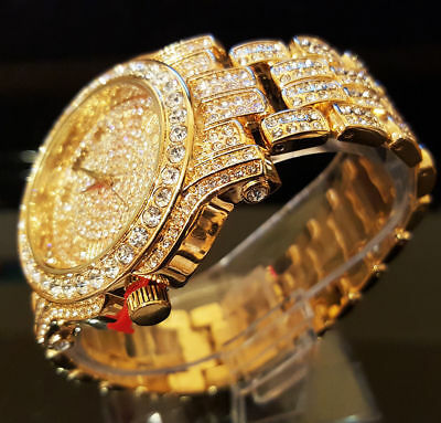 Men Hip Hop Iced out White Gold Techno Pave Bling Simulated Crystal Rapper Watch