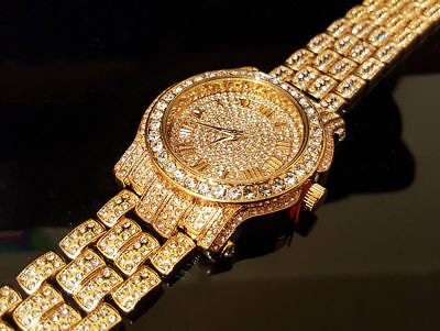 Men Hip Hop Iced out White  Pave Bling Simulated Crystal Rapper Watch