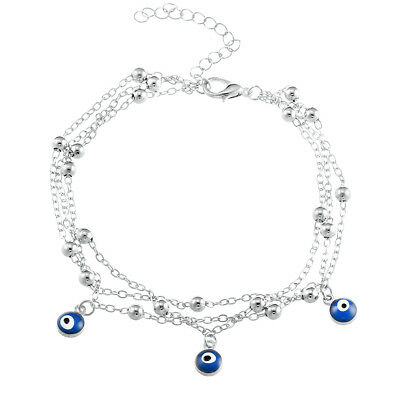 Turkish Evil Eye Ankle Bracelet 3 Nazar Triple Chain Anklet  Quality UK SELLER