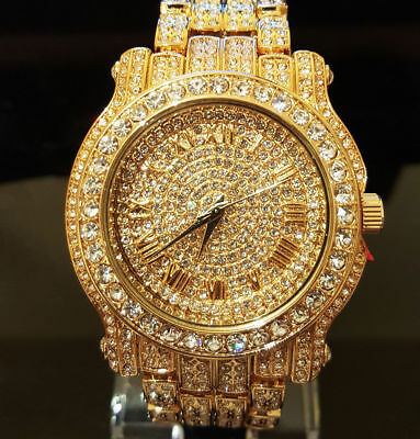 Mens 14k Gold Plated Iced out Simulated Crystal Hip Hop Rapper Techno Pave Watch