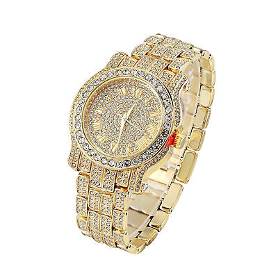 Men Hip Hop Iced out  Techno Pave Bling Simulated Crystal Rapper Watch