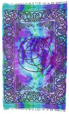 """100% Silky Rayon Sarong - Tie Dye Large Celtic Triquetra - 44"""" X 72"""""""