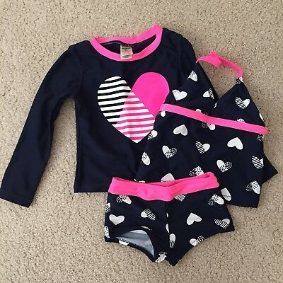 OshKosh 2T heart themed Bathing Suit Set With Two Tops And Matching Bottom
