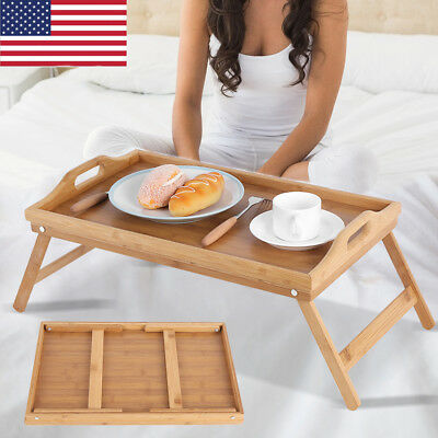 Bamboo Breakfast Bed Tray Lap Desk Serving Table Foldable Legs Wood Food Dinner