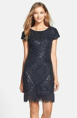 03b01f93704 Aidan Mattox Slate Beaded Fringe Trim Cap Sleeve Cocktail Dress Size 6