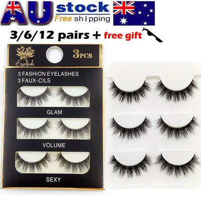 AU 12 Pairs 3D Natural Long Thick Makeup Eyelashes Cross False Eye Lashes