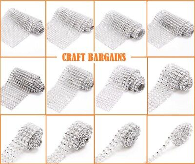 SILVER Crystal Diamante Sparkly Rhinestone EFFECT Mesh Ribbon BLING Trim  CRAFT