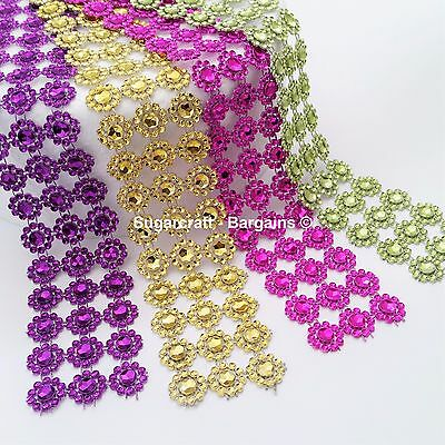 SUNFLOWER Diamante Bling Sparkling Diamond Effect Wedding Cake Craft Trim Ribbon