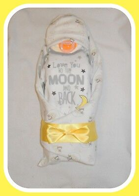"""Neutral """"Love You To The Moon And Back- Themed Diaper Cake Baby-Gorgeous Gift"""