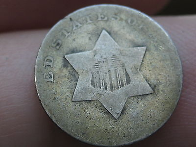 1851-1853 Three 3 Cent Silver Trime- Golden Toned