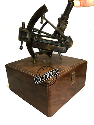 Antique Marine Solid Heavy Astrolabe Vintage Scientific Working Sextant With Box