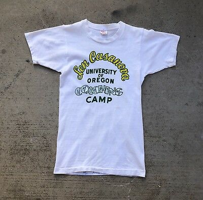 Vtg 50s 60s KIDS Len Casanova Oregon Coaching Camp Shirt champion running man