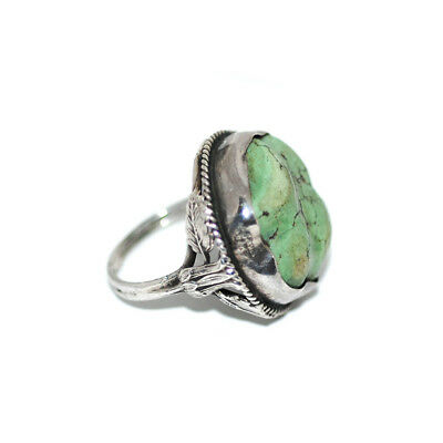 Unusual Antique Art Nouveau Sterling/Chinese Turquoise Ring Vtg 1910s-20s