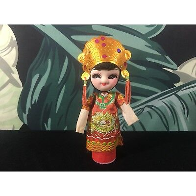 "Vintage Chinese Asian Peg Doll Made In Taiwan 6.5"" Tall Oriental Chinese Decor"