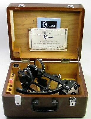Vintage Marine Luna Sextant With Original Wooden Case