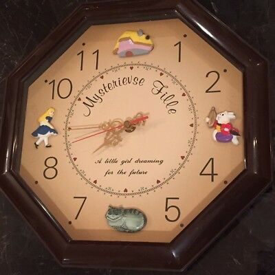 Alice In Wonderland Children Wall Clock W 3D Figures VINTAGE French Glass Cover