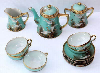Antique 16 Piece Hand Painted Nippon Tea Coffee Set Flying White Geese Gold Trim