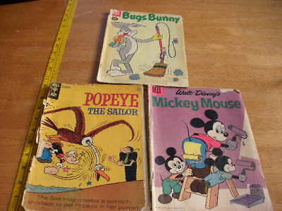 Bugs Bunny Popeye Mickey Mouse comics lot G-VG 1960s Silver age