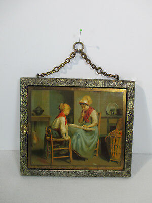 Antique Travel Mirror Tri-Fold Glass Girl Playing Cards Hanging Chain Brass