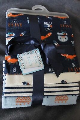 New With Tags 4 Pack Boy's Receiving Blankets Zak & Zoey Blue Fox