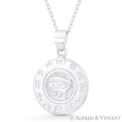 Eye of Horus & Egyptian Rune 925 Sterling Silver Udjat Wedjat Luck Charm Pendant