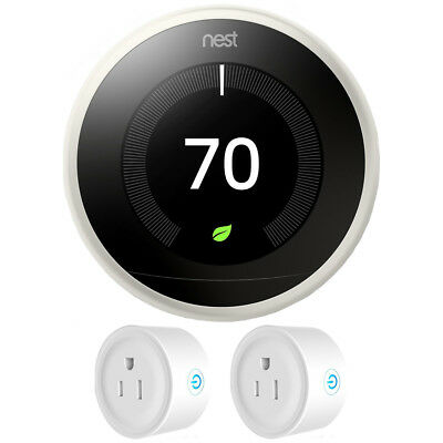 Nest Learning Thermostat (3rd Generation, White) w/ 2 Pack Wifi Smart Plug