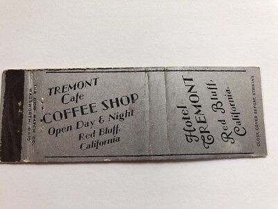 Vintage Matchbook Cover Hotel Tremont Red Bluff California