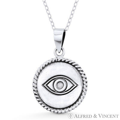 Evil Eye 27mm Turkish Greek Charm Oxidized Circle Pendant in 925 Sterling Silver