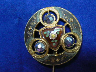 Antique Victorian Enamel and Steel Bead Large Round Button Stick Pin