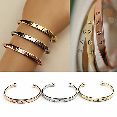 Women Stainless Wedding Cuff Bracelet Open Bangle Jewelry Steel Screw Hand Love