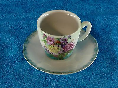 Vintage Hand Painted Floral Demitasse Coffee Cup and Saucer Expresso Japan