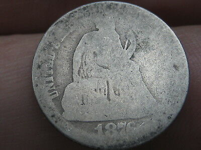 1876 CC Seated Liberty Silver Dime- Rare Carson City, Lowball, Heavily Worn