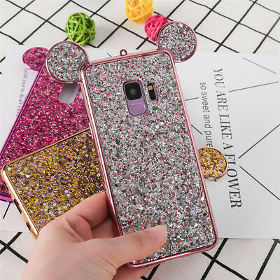 Bling Sparkle Disney Case Mickey Mouse Ear Cover For iPhone Xs Max Xr & Samsung