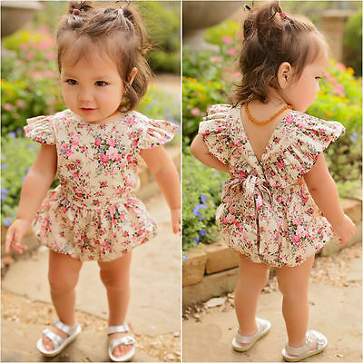 Newborn Infant Baby Girl Floral Romper Jumpsuit Bodysuit Headband Clothes Outfit