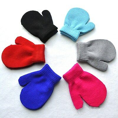 Baby Toddler Mittens Gloves Boys Girls Solid Winter Kids Warm Gloves One Size X