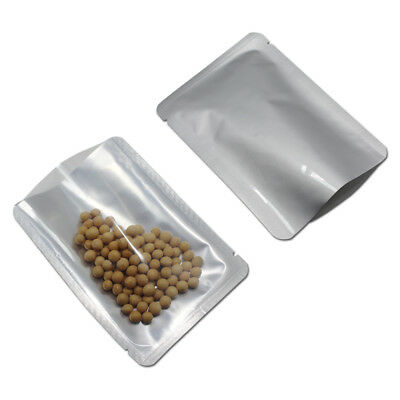 100X Pure Aluminum Foil Clear Silver Bags Mylar Open Top Heat Seal Food Package