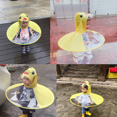 Cute Mini Cartoon Duck Children Kids Raincoat Umbrella UFO Cape Foldable Gift AU