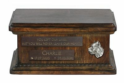 Cane Corso - Urn for dog's ashes with relief and sentence, low model UK