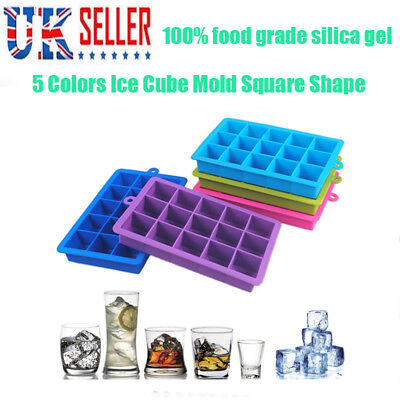 Silicone Square 15-Cavity Large Ice Cube Tray Maker Mold Mould Tray Jelly Tool M