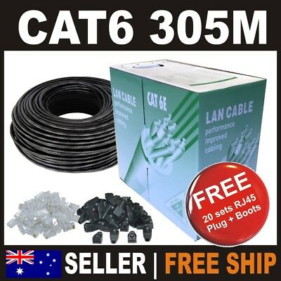** SELL 305m Cat 6 Cat6 Solid Black Network Ethernet Phone Cable Boxed SAVE $$$